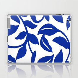 PALM LEAF VINE SWIRL BLUE AND WHITE PATTERN Laptop & iPad Skin