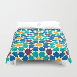 Moroccan pattern, Morocco. Patchwork mosaic with traditional folk geometric ornament Duvet Cover