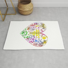 Sewing Notions Zipper Heart design for Handmade Creatives and Seamstress Rug