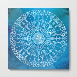 Rosette Window - Cyan Metal Print