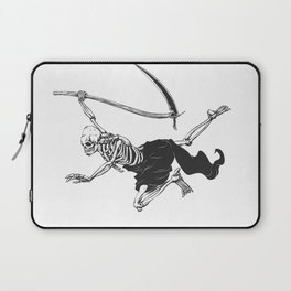 Flying reaper - gothic grim - skull cartoon - black and white Laptop Sleeve