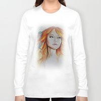 jennifer lawrence Long Sleeve T-shirts featuring Jennifer Lawrence Watercolor  by Halinka H