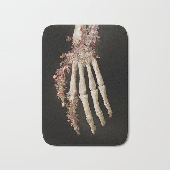 """""""Spring 1"""" skull and flowers Bath Mat"""