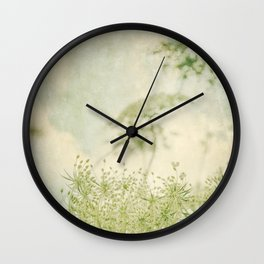 Sanctuary -- White Queen Anne's Lace Meadow Wild Flower Botanical Wall Clock