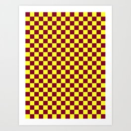 Electric Yellow and Burgundy Red Checkerboard Art Print