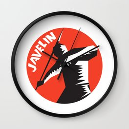 Javelin Throw Track and Field Athlete Circle Woodcut Wall Clock
