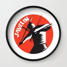Javelin Throw Track and Field Athlete Circle Woodcut Wall Clock