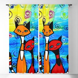 Colorful cats Blackout Curtain