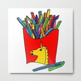 Unicorn Fries Metal Print