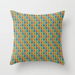 Mid Century Modern Retro Atomic Cats on Orange Green and Blue Throw Pillow