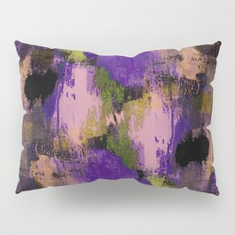 Abstract Nature - Textured, blue, yellow, pink, lilac, purple, black and orange painting Pillow Sham