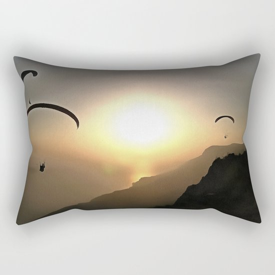 Paragliders Flying Without Wings Rectangular Pillow