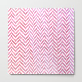 Watercolor Herringbone Chevron pattern - pink on white Metal Print