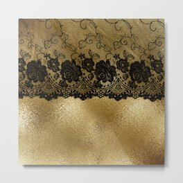 Black luxury lace on gold glitter effect metal- Elegant design Metal Print