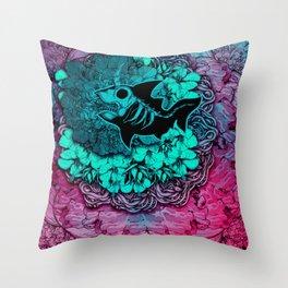 Unicorn Shark Blue Throw Pillow