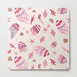 Jellyfish in Magenta Metal Print