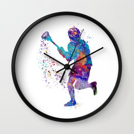 Lacrosse Boy Colorful Watercolor Art Sports Gift Wall Clock