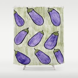 Excited About Eggplants Shower Curtain