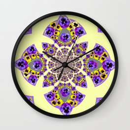 GEOMETRIC  PURPLE & YELLOW  PANSIES ON  CREAM COLOR Wall Clock