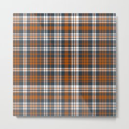Texas orange and white university texans longhorns college football sports plaid Metal Print