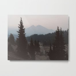 Pine forest In The Foreground Mountain In The Distance Modern Minimalist Photo Metal Print