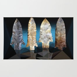 Ancient Anerican Arrowheads Low Poly Geometric Triangles Rug