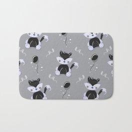 Happy Birthday Black Fox Grey Background Pattern Bath Mat