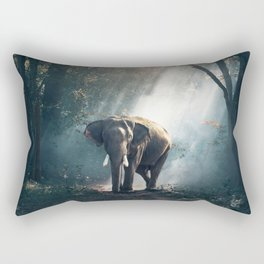 Beautiful Elephant in the Woods Rectangular Pillow