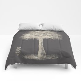 Palm tree - botanical silver illustration Comforters