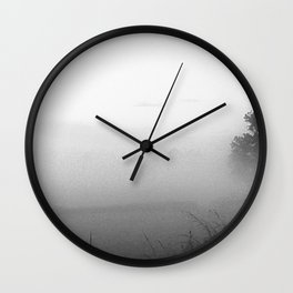 June Mist Over Clifton-Upon-Dunsmore in black and white Wall Clock