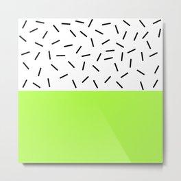 Lime and Black-and-White Bar Two-Tone Metal Print