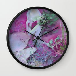 Mermaid With Pearl : Henry Clive Fuchsia Pink Seafoam Wall Clock