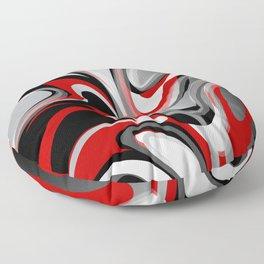 Liquify - Red, Gray, Black, White Floor Pillow