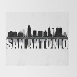San Antonio Silhouette Skyline Throw Blanket