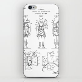 Parachute Pack Patent - Sky Diving Art - Black And White iPhone Skin