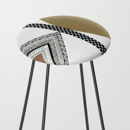 Geometric Shapes with Gold, Copper and Silver Counter Stool