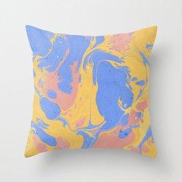 Yellow & blue paint Throw Pillow