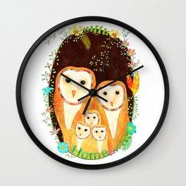 Owl Family Home Wall Clock
