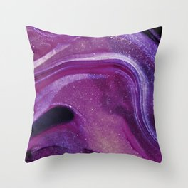 Purple Marble Paint Throw Pillow
