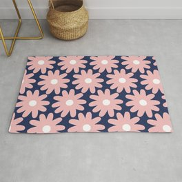 Crayon Flowers Smudgy Pastel Floral Pattern 2 in Pink and White on Navy Blue Rug