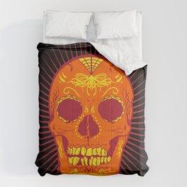Orange Calavera Skull  Comforters