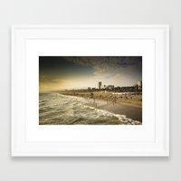 santa monica Framed Art Prints featuring Santa Monica by Kyle Moreno