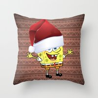 spongebob Throw Pillows featuring Spongebob Celebration by Neo Store