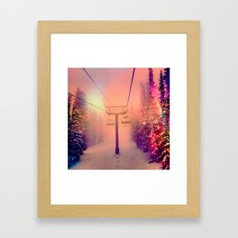 Technicolor Chairlift Ride Framed Art Print