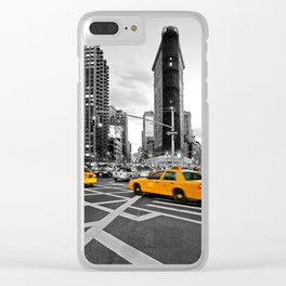 NYC Yellow Cabs Flat Iron Building Clear iPhone Case