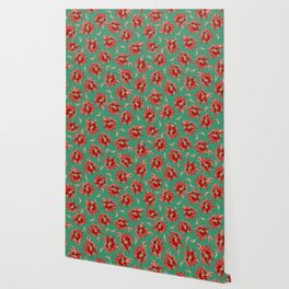 Red Christmas Flowers on Green Botanical Floral Pattern Wallpaper