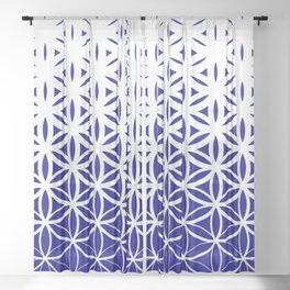 Sacred Geometry Dark Blue Sheer Curtain