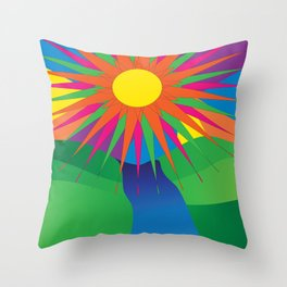 Psychedelic Sun Neon Mountain River Lands Throw Pillow