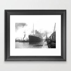 Titanic at the docks of Southampton Framed Art Print