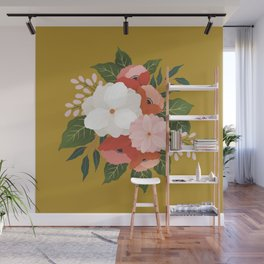 Florals on Mustard Wall Mural